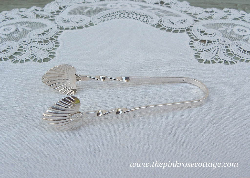 Vintage Sliver Plate Sugar Tongs Heart Shaped Shells