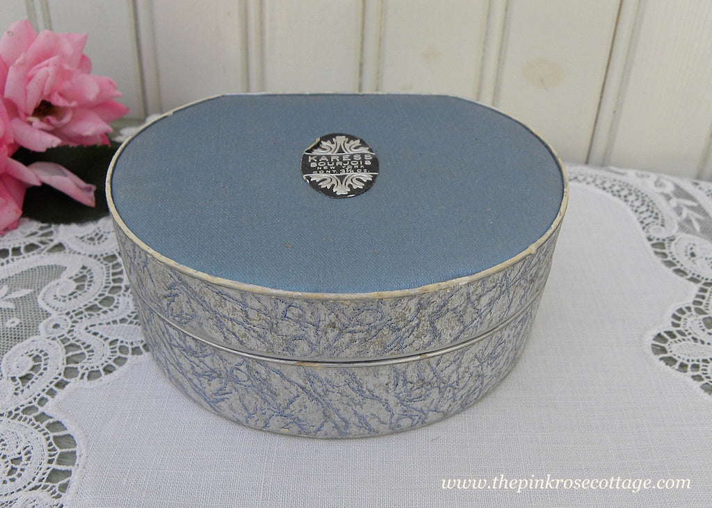 Unused Vintage Bourjois Karess Powder Box Blue and Silver - The Pink Rose Cottage