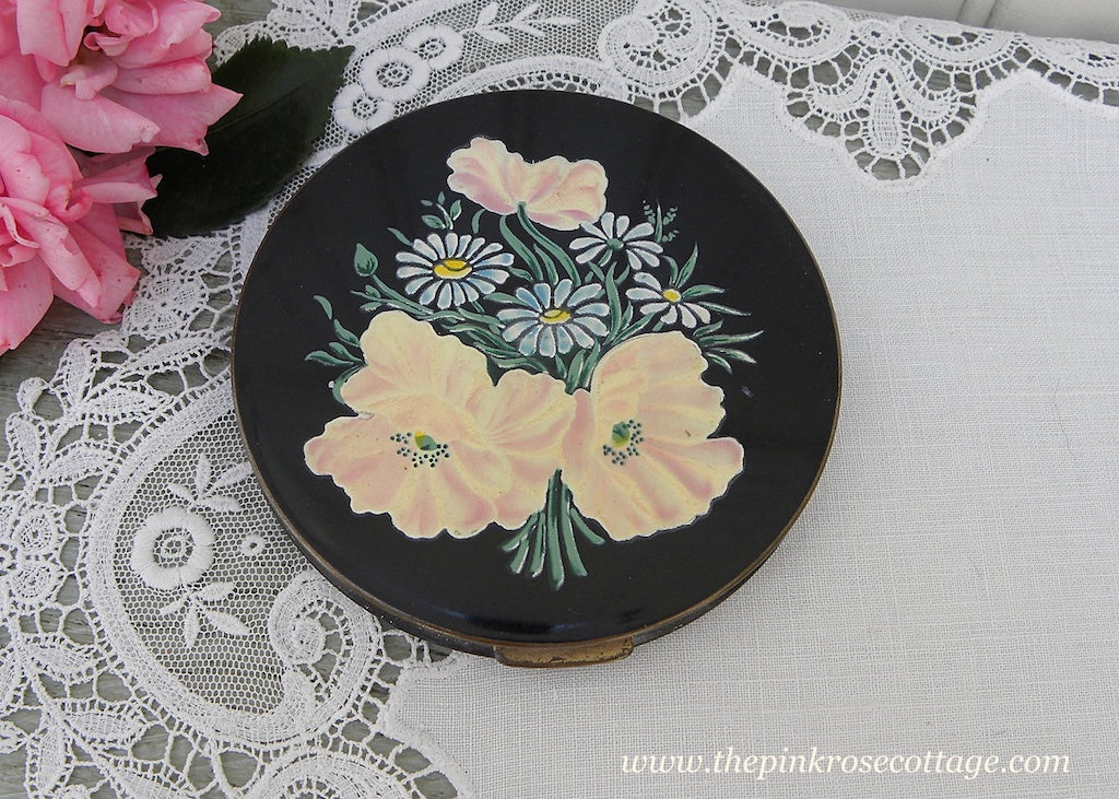 Vintage Rex Fifth Avenue Enameled Powder Compact Pink Poppies and Daisies