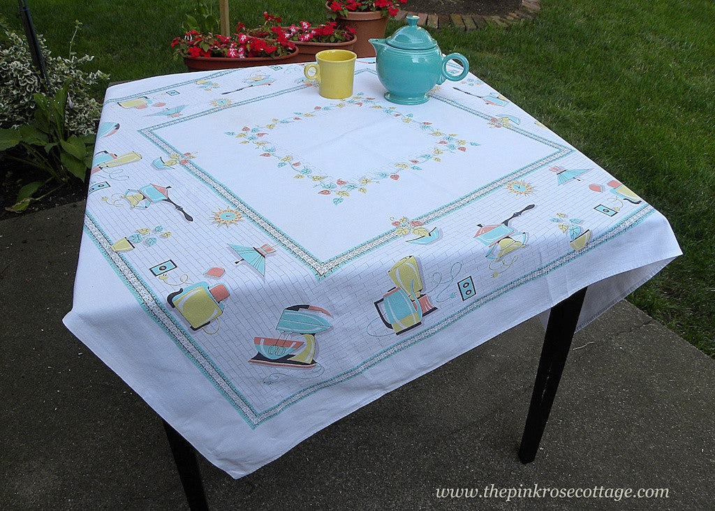 Mid Century Modern 1950's Vintage Tablecloth Aqua Appliances Percolator and More - The Pink Rose Cottage