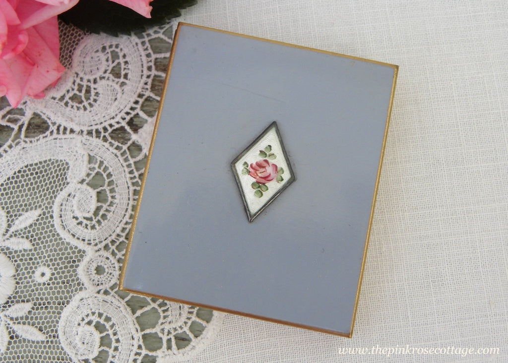 Vintage Photo Album Compact Blue with Guilloché Pink Rose Medallion