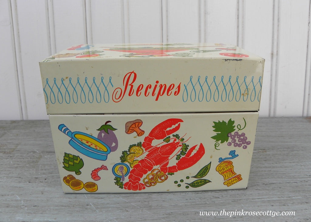 Vintage Ohio Art Kitchen Lobster and More Recipe Box with a Treasure of Recipes
