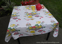 Vintage Wilendur Fruit Bowl Cheese Wine Teacup Roses and More Tablecloth