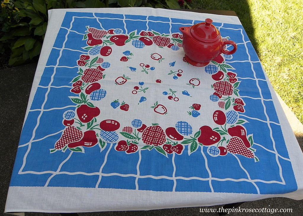 Vintage Red White and Blue Summer Fruits Strawberries Cherries Tablecloth