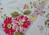 Large Vintage Tablecloth with Pink and Yellow Dahlias Roses and Blossoms