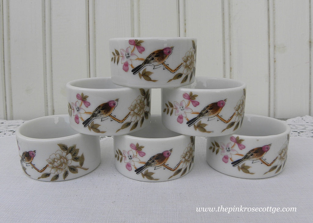 Vintage Birds Blossoms and Butterflies Napkin Rings