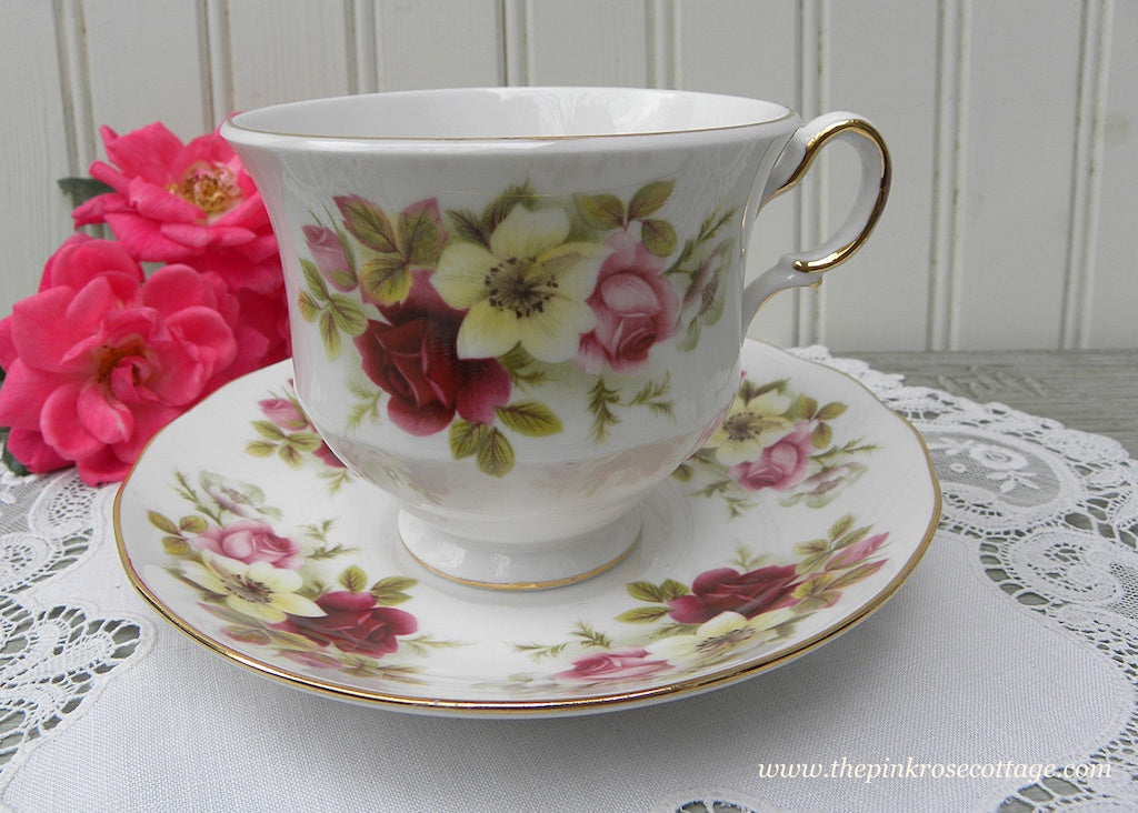 Vintage Queen Anne Pink Roses and White Wild Roses Teacup and Saucer