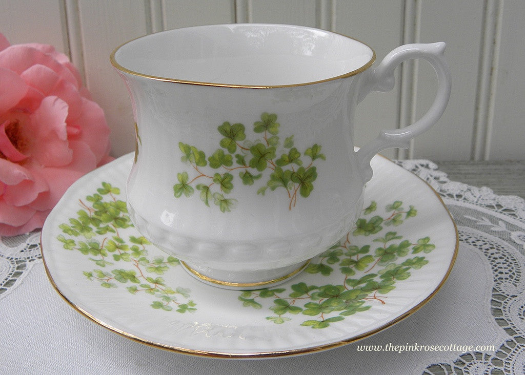 Vintage Royal Hampshire Hall Clover Shamrock Irish Teacup and Saucer