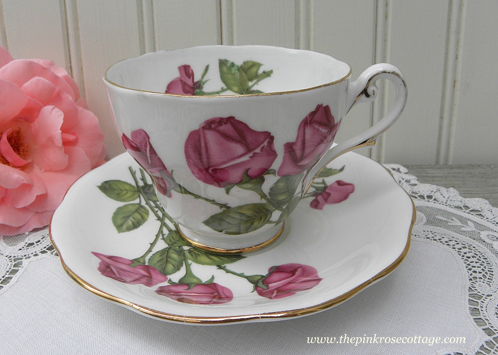 "Vintage Royal Standard ""Three Red Roses"" Teacup and Saucer"