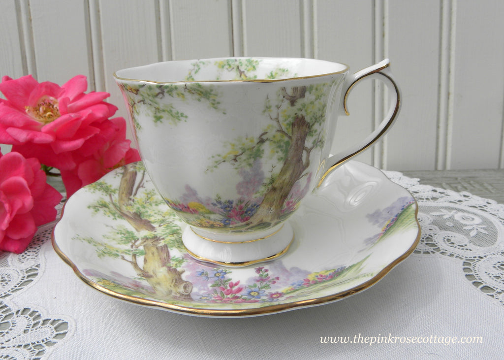 Vintage 1940's Royal Albert Greenwood Tree Teacup and Saucer - The Pink Rose Cottage