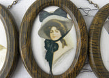 Vintage Oval Frame Illustrations of American Indian Woman and Gibson Girls