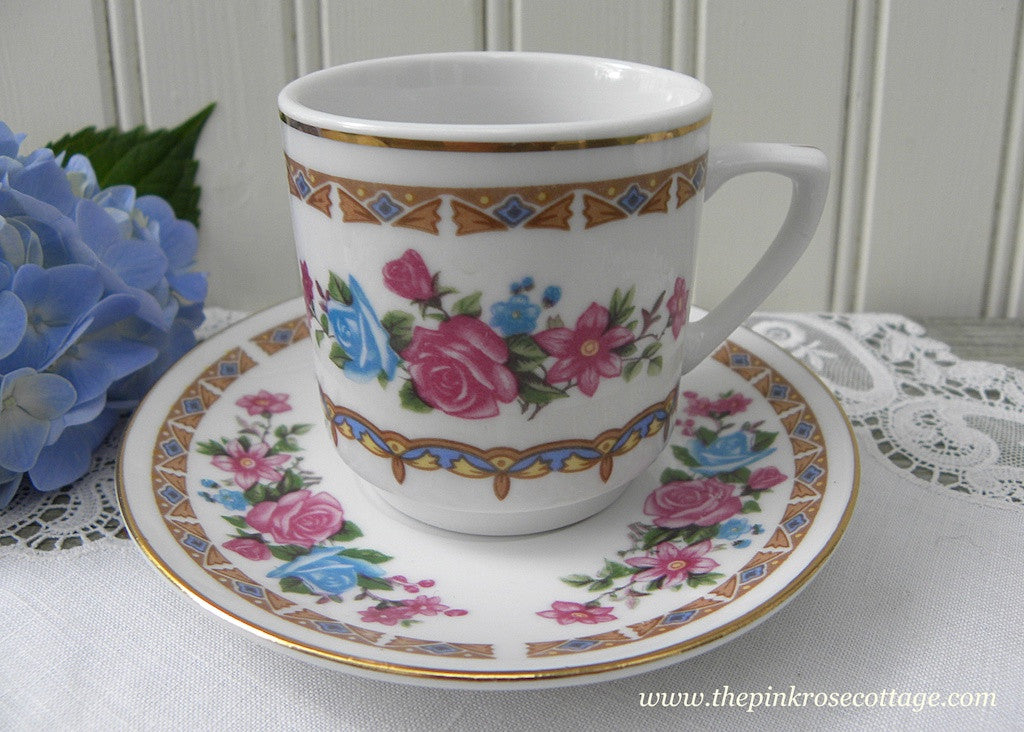 Vintage Pink and  Blue Roses Demitasse Teacup and Saucer