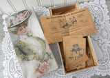 Antique Lion Coffee Trading Cards and Game in Victorian Woman Box