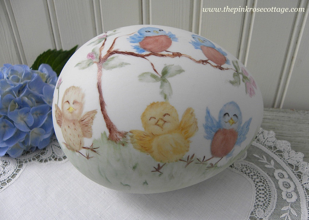 Hand Painted Blue Bird and Baby Bird Easter Egg