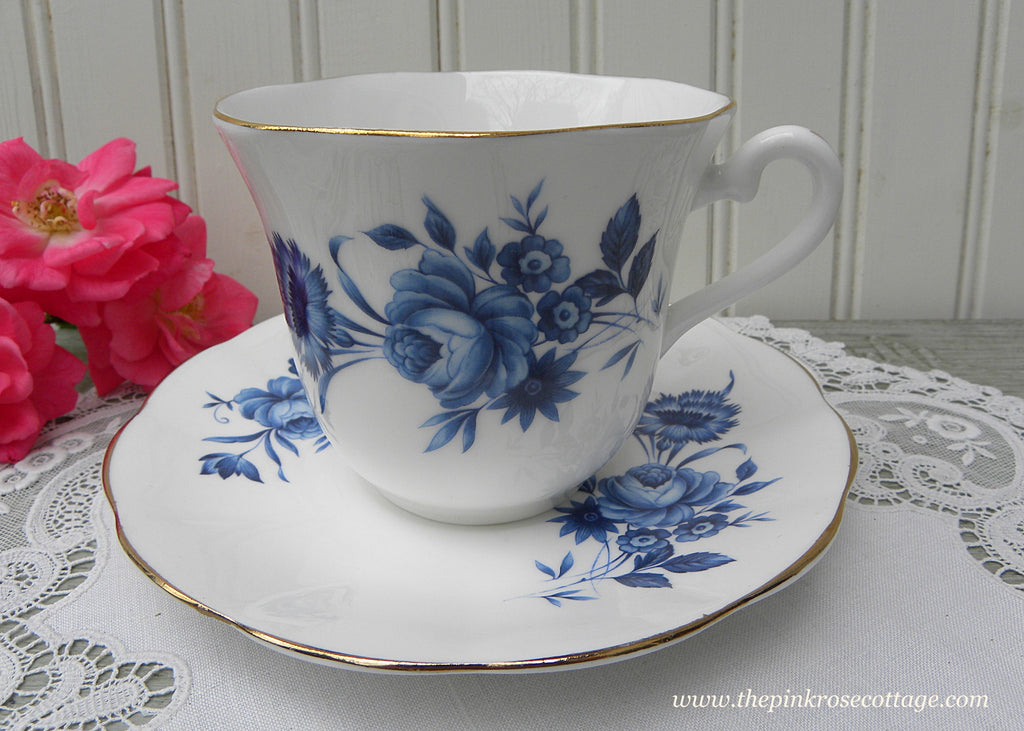 Vintage Elizabethan Cobalt Blue Roses and Dianthus Teacup and Saucer