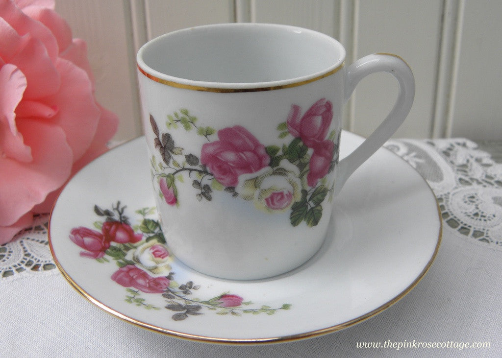 Vintage Pink and White Roses Demitasse Teacup and Saucer
