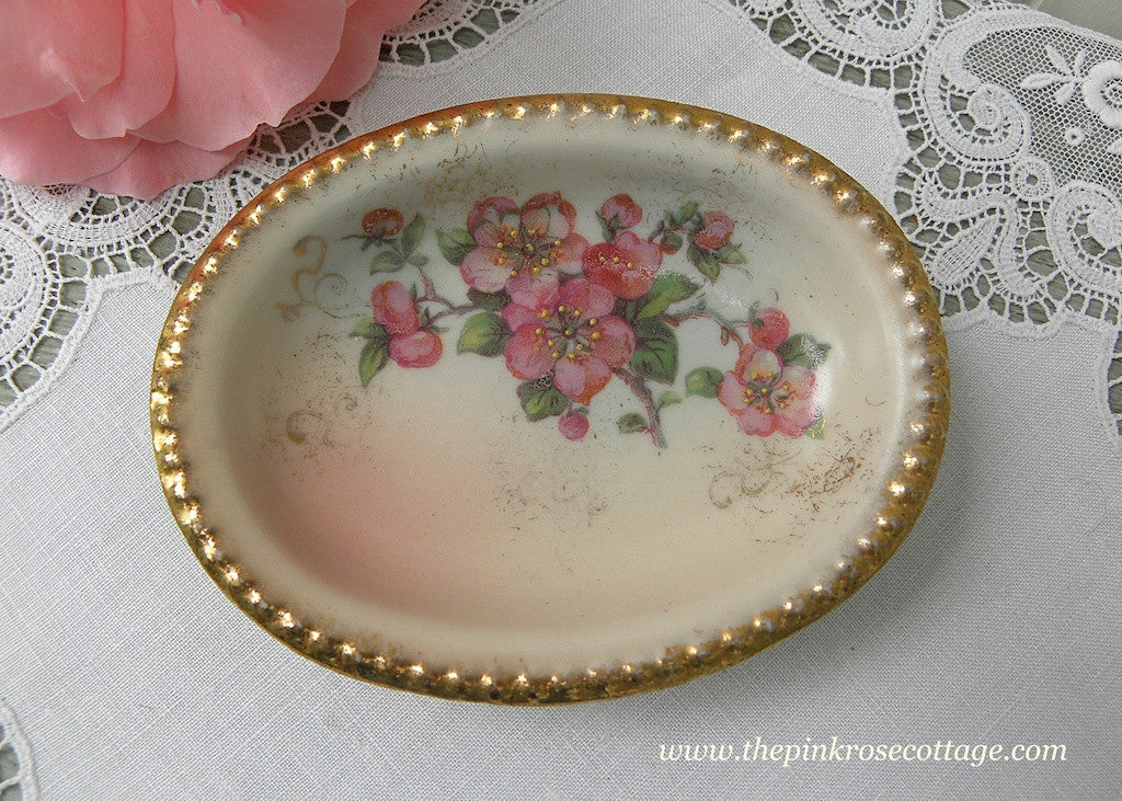 Vintage Hand Painted Cherry Blossoms Trinket Dish