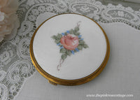 Large Vintage Evans Pink Rose Guilloche Powder Compact