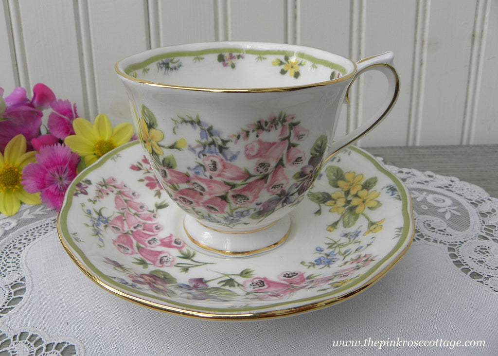 Royal Albert Country Bouquet Collection Dawn's Glory Foxglove Teacup - The Pink Rose Cottage