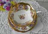 Vintage Royal Albert Pansy Pansies Gold Teacup and Saucer