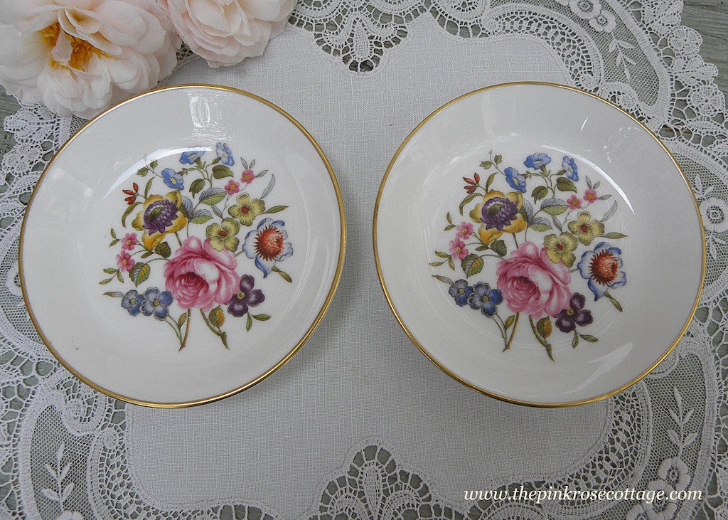 Pair of Vintage Royal Worcester Pink Roses and Wild Flowers Teabag Holders - The Pink Rose Cottage
