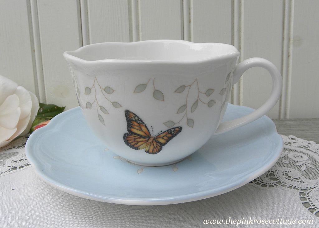Lenox Butterfly Meadow Soft Blue Teacup and Saucer - The Pink Rose Cottage