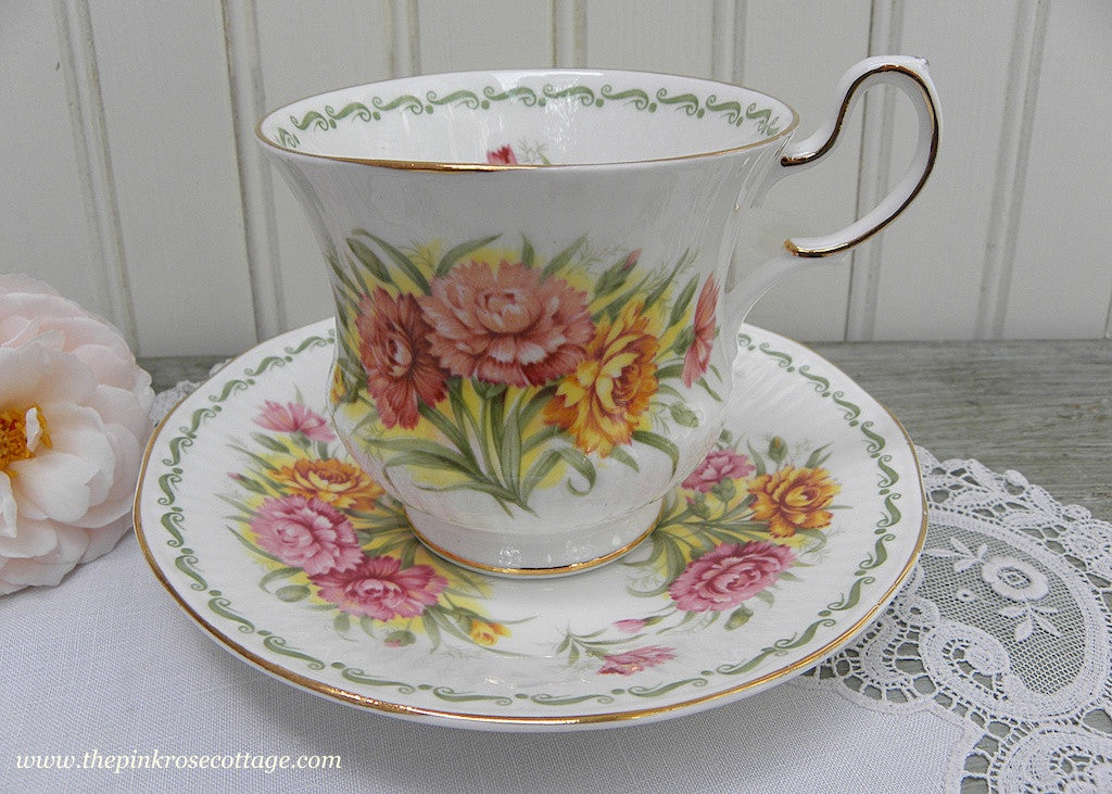 Vintage Queen's Teacup and Saucer January Carnation Special Flowers Series