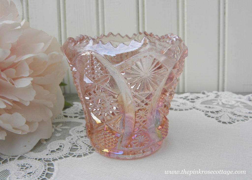 Vintage Imperial Glass Iridescent Pink Daisy Button Pink Toothpick Candle Holder