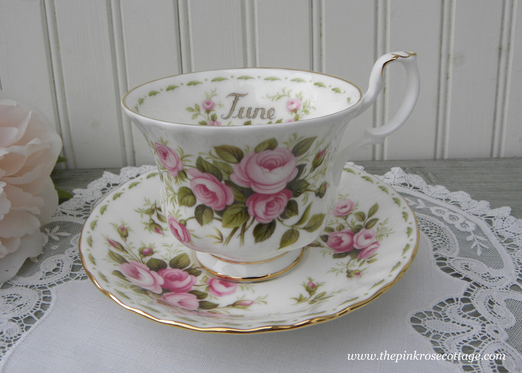 Vintage Royal Albert Flower of the Month June Roses Teacup and Saucer