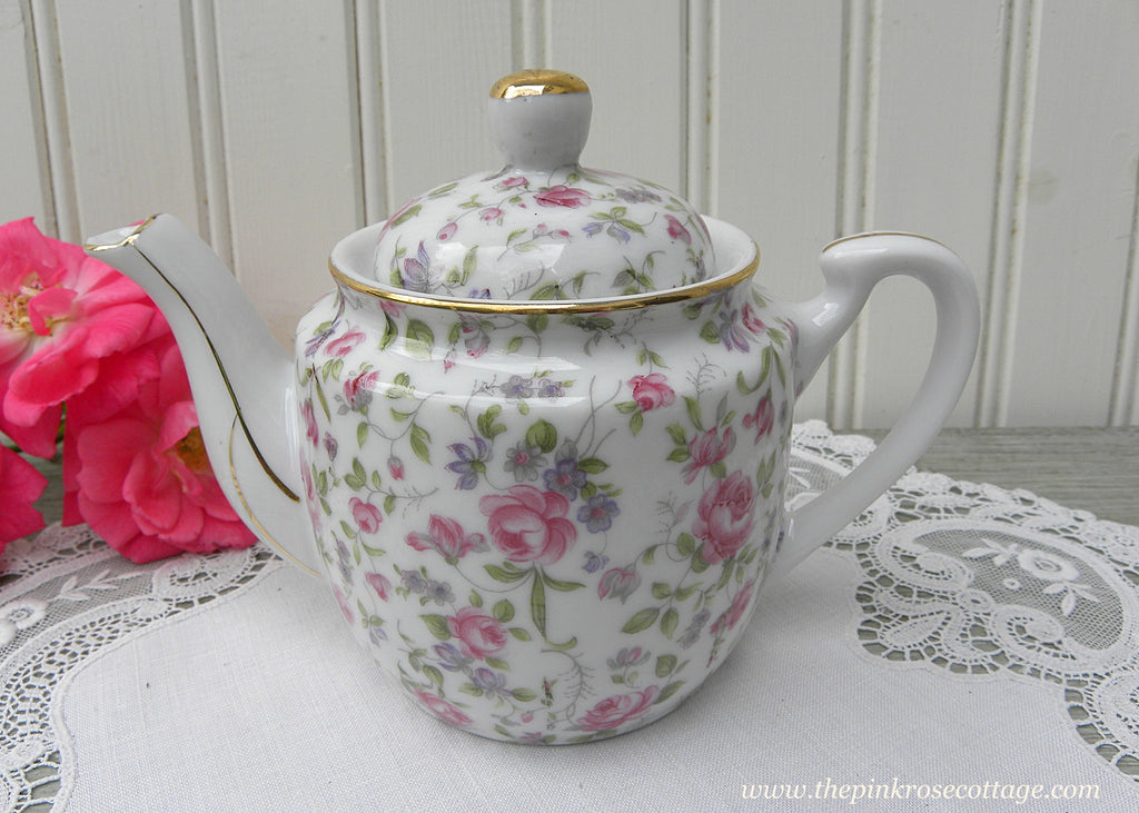 Vintage Lefton China Chintz Rose Individual Teapot