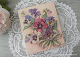 Vintage Spring Pansies Greeting Card Box