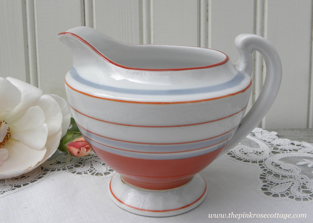 Vintage Hand Painted Rust and Great Striped Creamer