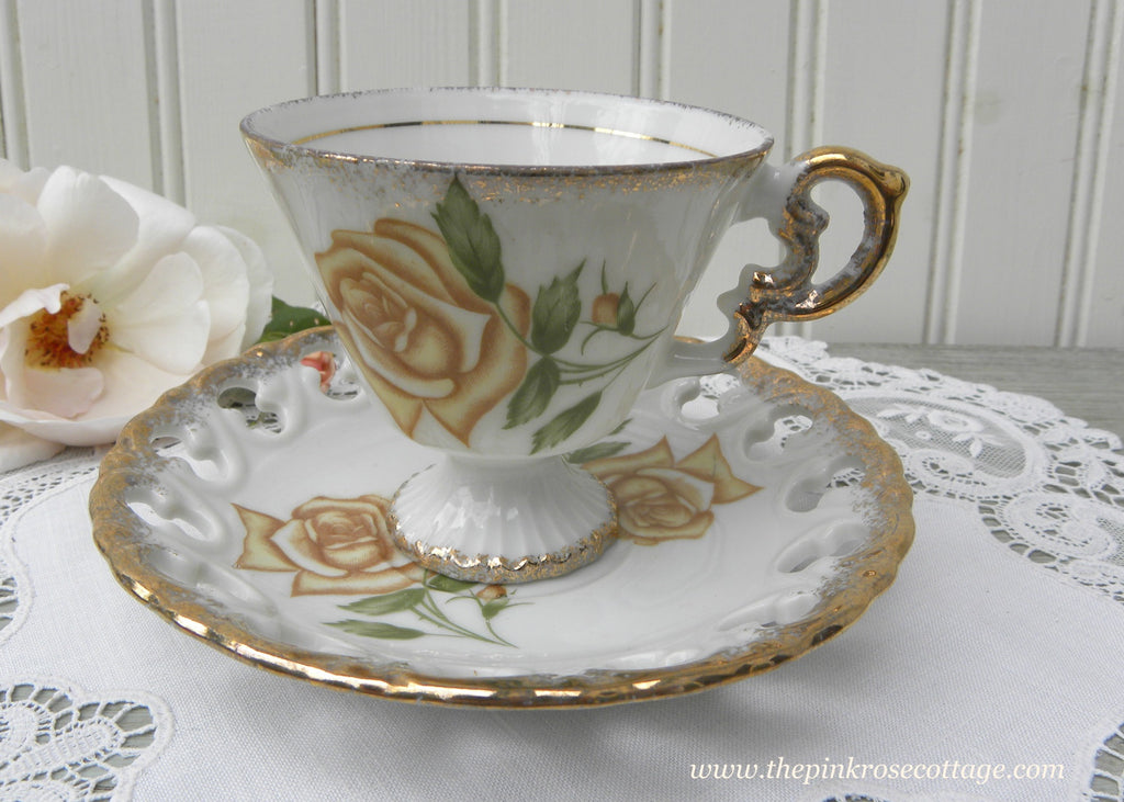 Vintage Yellow Rose Pedestal Demitasse Teacup and Saucer