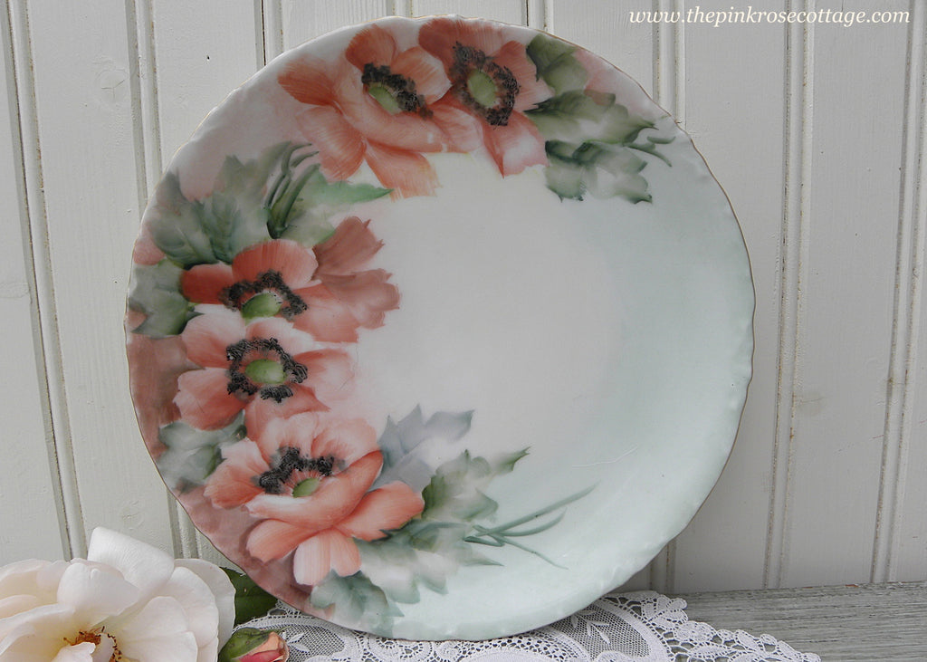 Vintage Hand Painted Poppy Poppies Dish Plate
