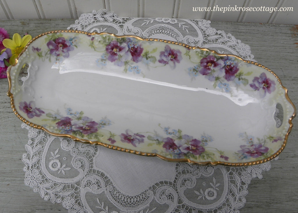 Antique Purple Pansies Celery Dish Tidbit Tray - The Pink Rose Cottage
