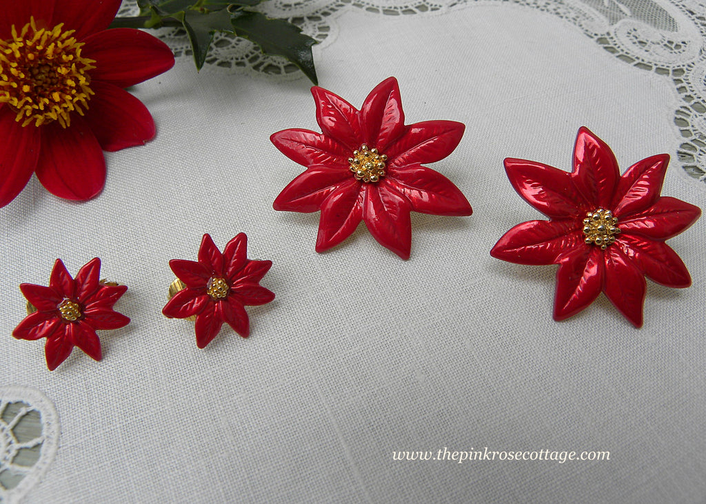 Vintage Red Enameled Christmas Poinsettia Scatter Pin with Matching Earrings