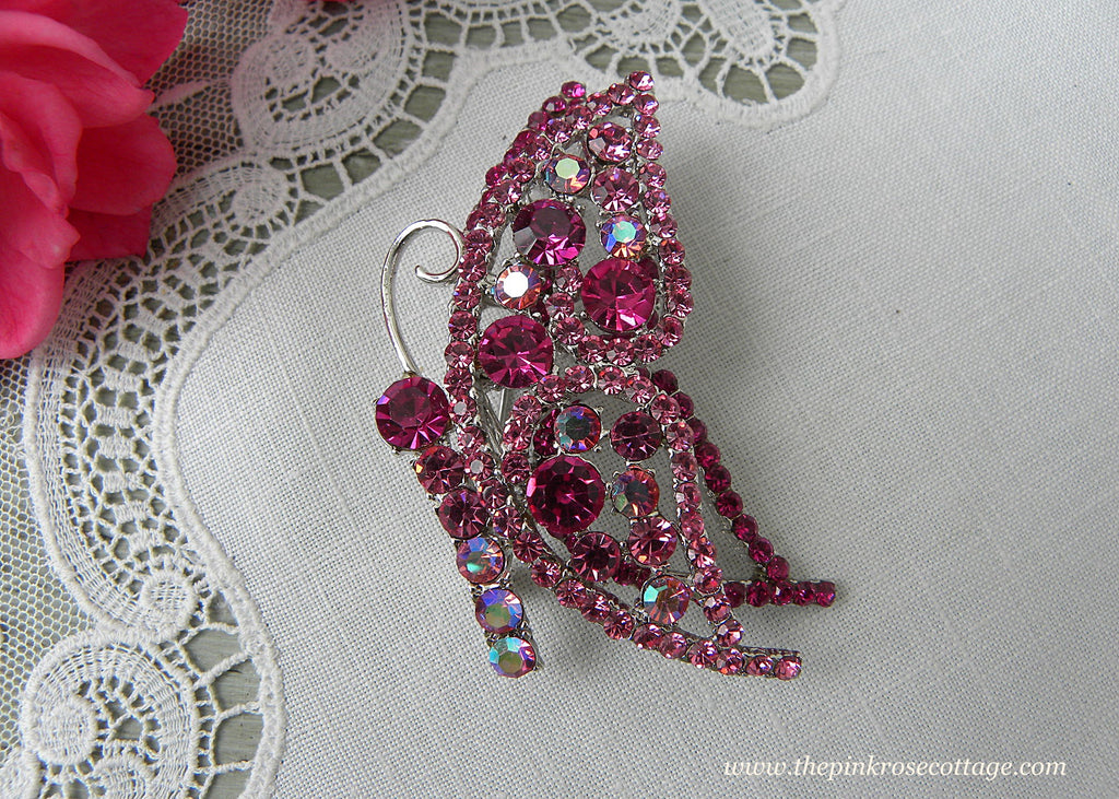 Vintage Pink Rhinestone Aurora Borealis Butterfly Pin Brooch