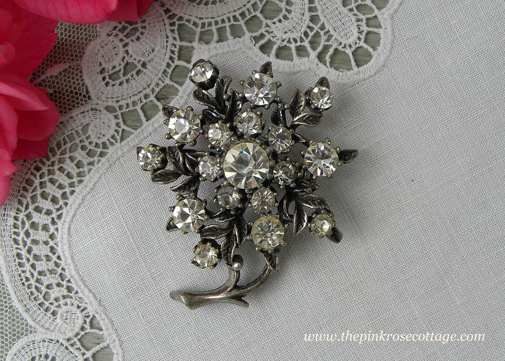 Vintage Coro Clear Rhinestone Flower Pin Brooch
