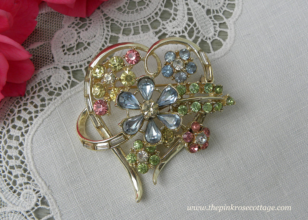 Vintage Rhinestone Heart and Daisy Pink Blue Green Pin Brooch