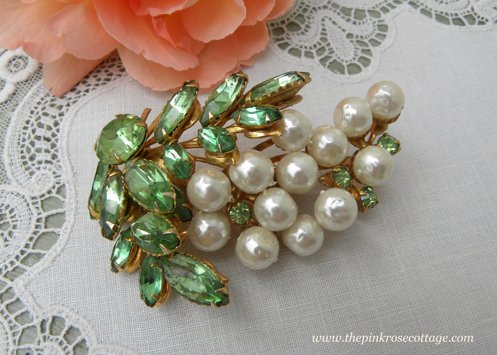 Vintage Pearl and Green Rhinestone Grapes Brooch Pin