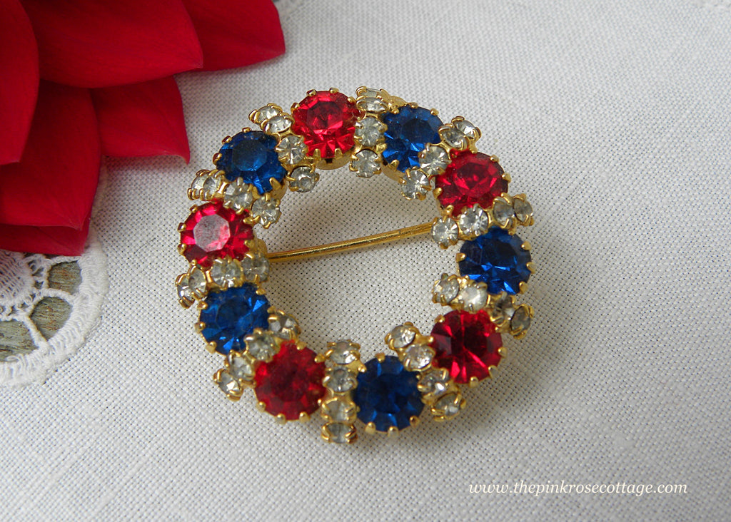 Vintage Patriotic Red White and Blue Rhinestone Brooch Pin