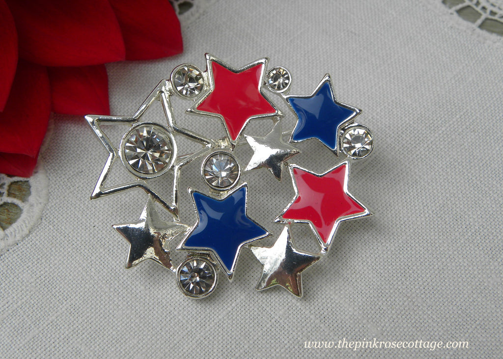 Avon Lady Liberty Patriotic Red White Blue Enameled Star and Rhinestone Pin - The Pink Rose Cottage