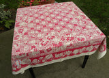 MWT Royal Made Fiatelle Vintage Tablecloth Pink Plaid with Poppies Daisies and More