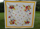 "Vintage Wilendur ""Meadow Bloom""  Poppies and Daisies Tablecloth"