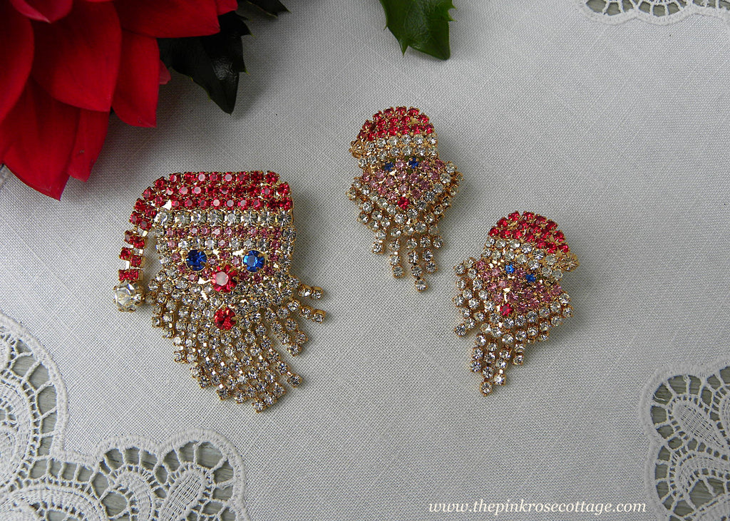 Vintage Rhinestone Christmas Santa Claus with Dangling Beard Pin and Earrings