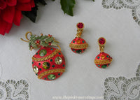 Vintage Weiss Enamel and Rhinestone Christmas Ornament Pin and Earrings Set
