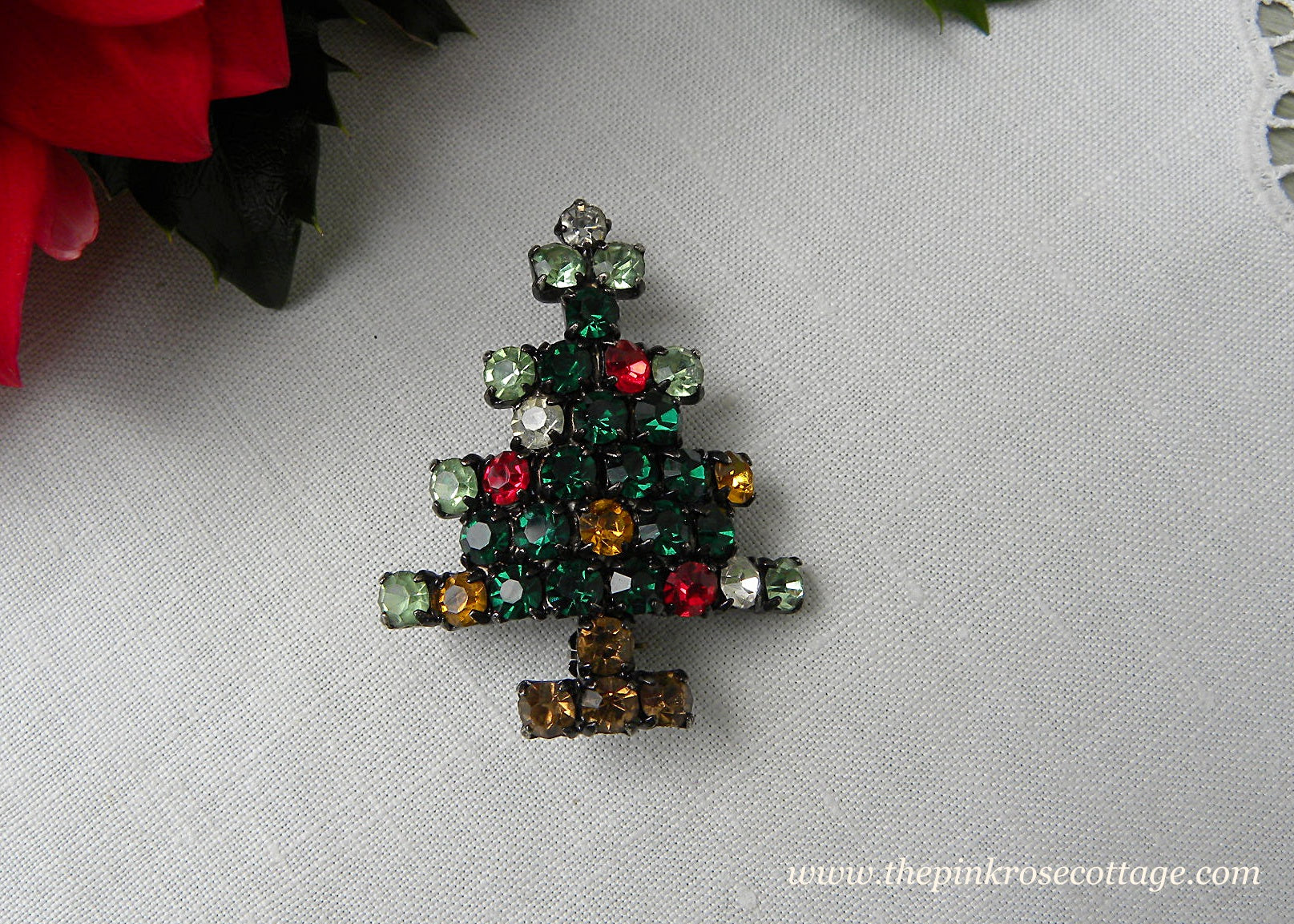 Vintage Jeweled Tone Rhinestone Christmas Tree Pin | The Pink Rose ...