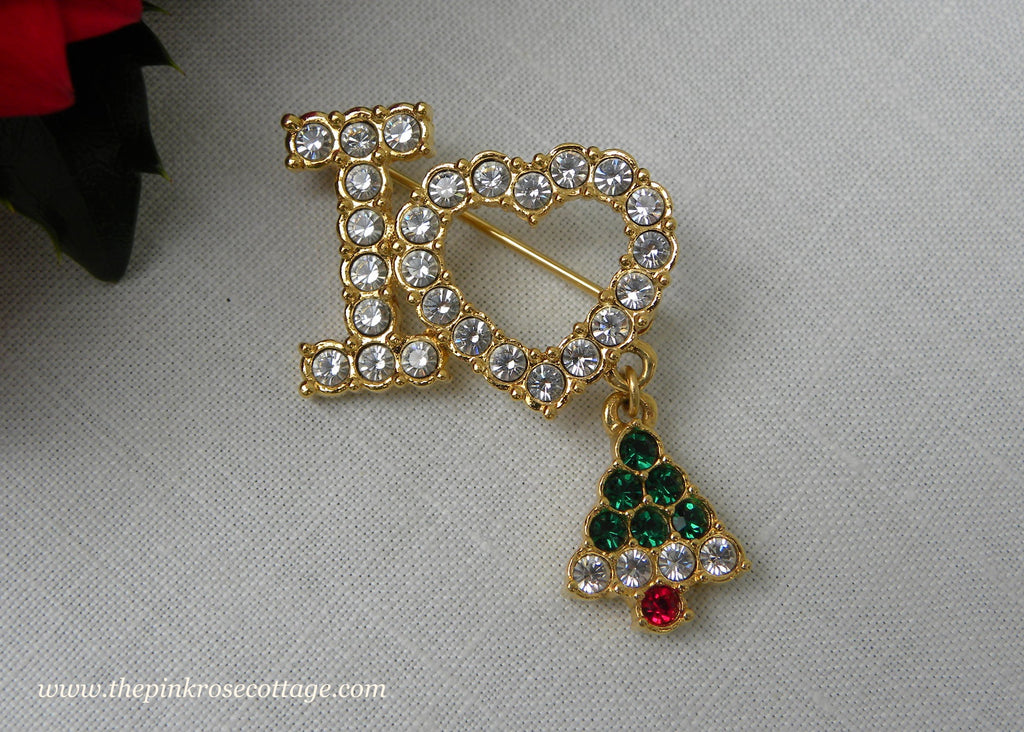 Rhinestone I LOVE HEART Christmas Tree Pin - The Pink Rose Cottage