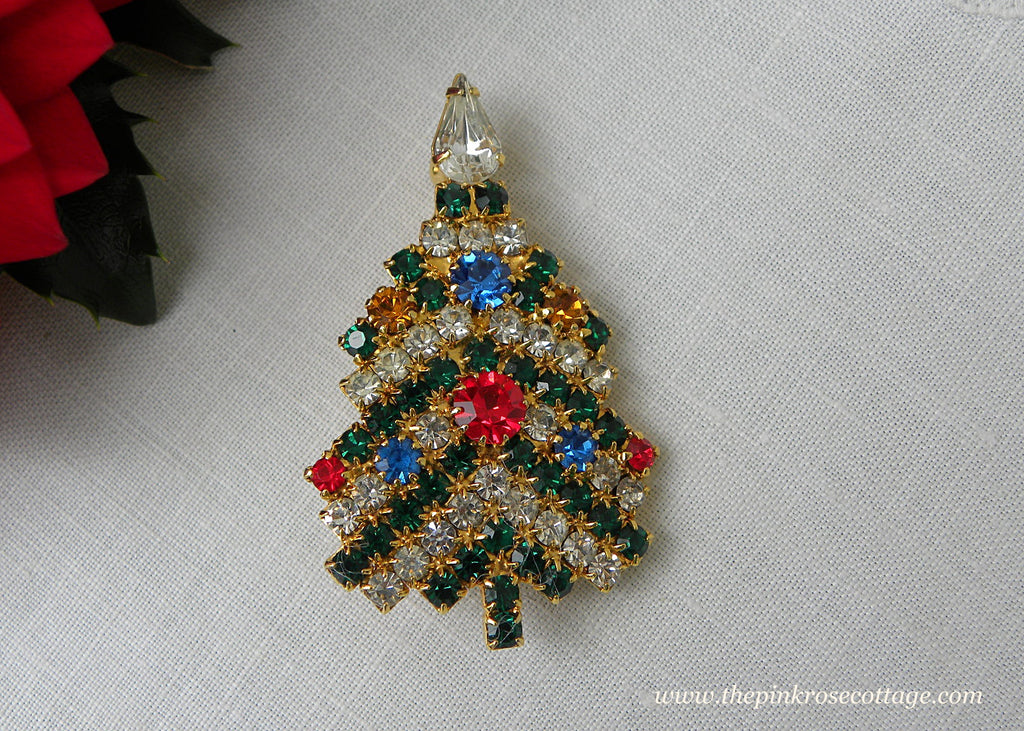 Vintage Rhinestone Christmas Tree with Ornaments Pin