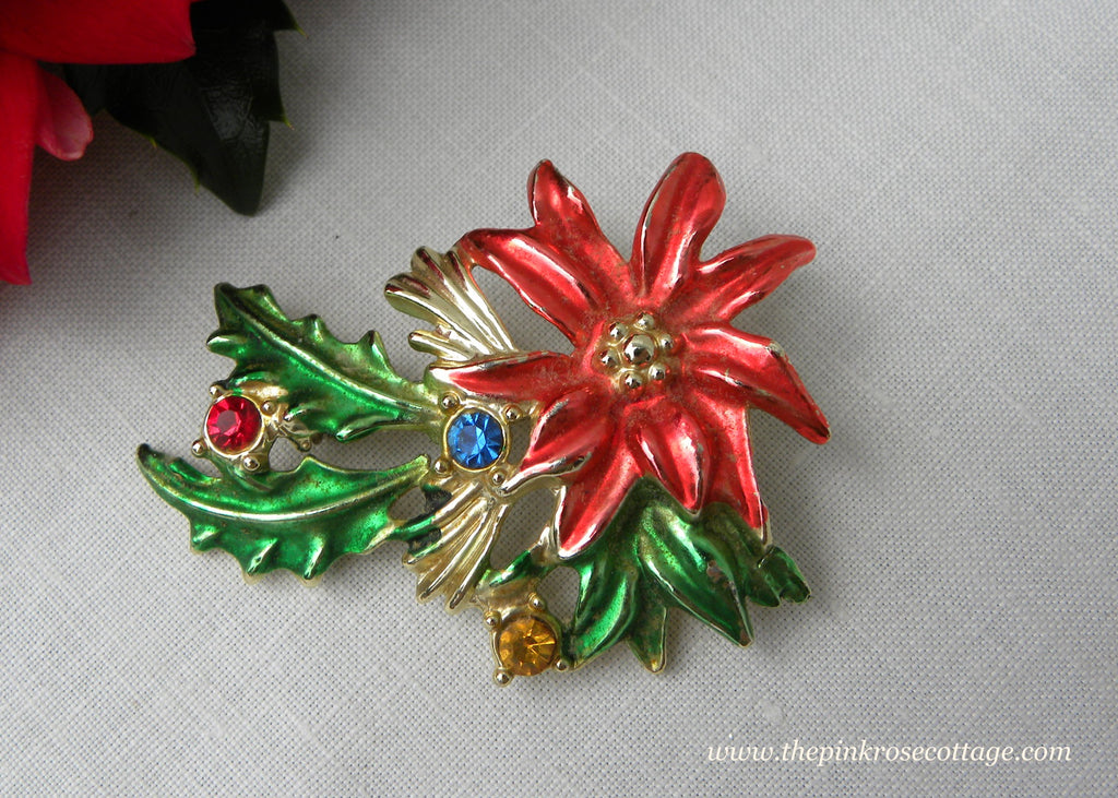 Vintage Enamel and Rhinestone Poinsettia Christmas Pin